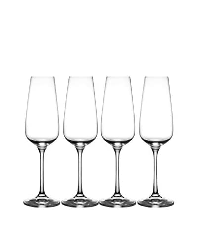 Jay Imports Set of 4 Giselle Flutes Glasses, Clear