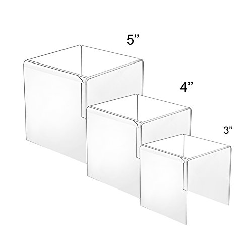 HESIN® Clear Acrylic Risers Set of 3 (3inch,4inch,5inch) (Acrylic Display Doll compare prices)