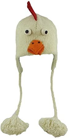 DeLux Chicken Face White Wool Pilot Animal Cap/Hat with Ear Flaps and Poms