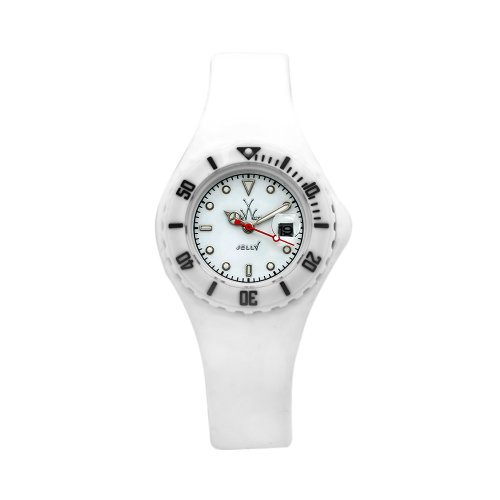 Toy Women's JYSWHS Jelly Mini White Silicone Strap White Dial Watch