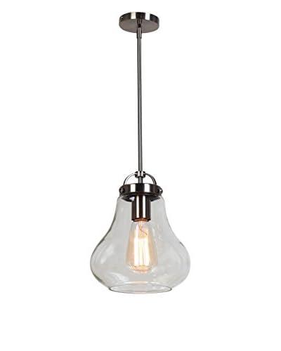 "Access Lighting Flux 1-Light 8"" Pendant, Antique Nickel/Clear"