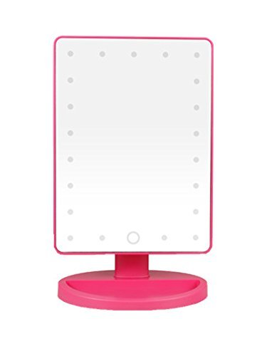 Belle Rose Red Rectangular Makeup Mirror Vanity Mirror with 21pcs LED Adjustable Lights by Finger Touch,360 Degree Free Rotation by Belle