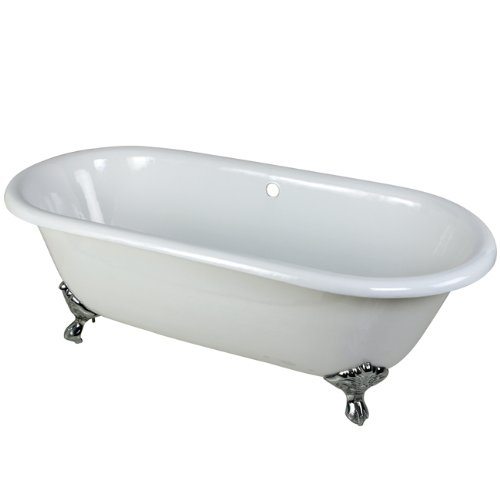 Kingston Brass VCTND663013NB1 Cast Iron Double Ended Clawfoot Bathtub with Chrome Feet without Faucet Drillings,  66-Inch, White