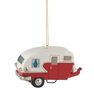 "3.75"" Red and White Vintage-Style Camper Trailer Christmas Ornament"