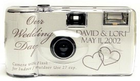 10 Pack Personalized Silver Love Wedding Cameras - Matching Table Cards Included - 27 Exposures - Built-in-flash - 35mm - 400 ISO Film