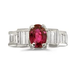 CleverEve's Oval Ruby/Baguette Diamond Ring in 18k White Gold