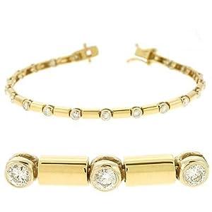 14k Two-Tone Bazel-Set 1.08 Ct Diamond Bracelet - JewelryWeb