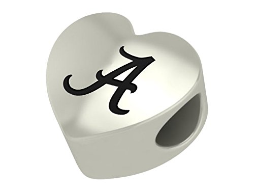 Alabama Crimson Tide Sterling Silver Heart Bead Fits Most European Style Bracelets