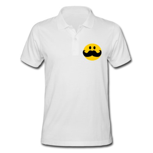 Spreadshirt, Funny Mustache Smiley face cartoon, Men's Polo Shirt, white, L