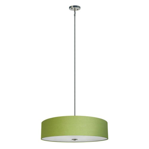 Brushed Nickel Progress Lighting P5144-09 1-Light Stem-Hung Mini-Pendant with Etched White Bell-Shaped Glass Bowl and Squared Scrolls and Arms