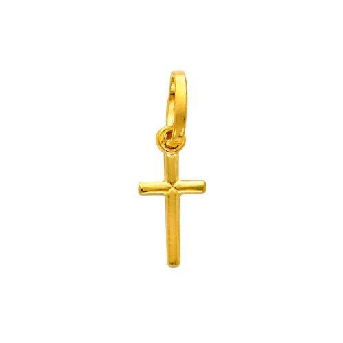 14K Yellow Gold Tiny Religious Cross Charm Pendant