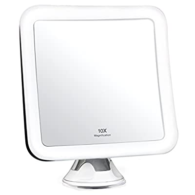"""Fancii 10X Magnifying Lighted Makeup Mirror - Daylight LED Travel Vanity Mirror - Compact, Cordless, Locking Suction, 5.2"""" Wide, 360 Rotation, Portable Illuminated Bathroom Mirror (Square)"""