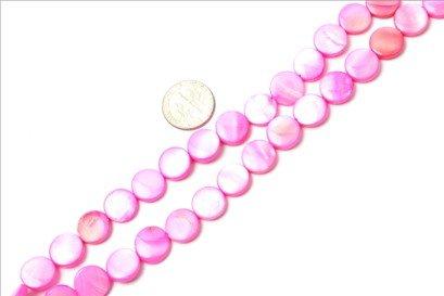 11mm coin gemstone plum Sea shell beads strand 15