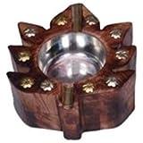 Desi Karigar Wooden Antique Hand Carved Ashtray With Leaf Design