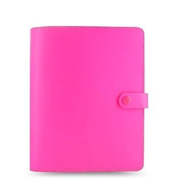filofax agenda format format a5 couverture cuir rose fluo fournitures de de bureau z155. Black Bedroom Furniture Sets. Home Design Ideas