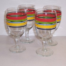 Fiesta Scarlet Multi-stripe 16-ounce Goblet Set of 4