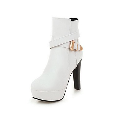 Da donna high-heels Low Top Solid Zipper Stivali, white-us8/eu39/uk6/cn39, white-us8/eu39/uk6/cn39