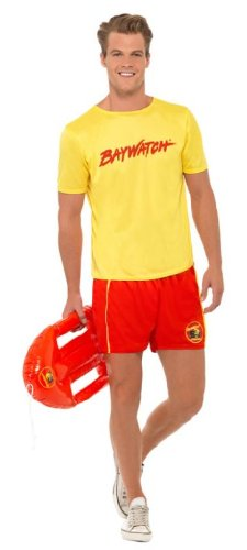Baywatch Men's Beach Lifeguard Hasselhoff Costume with Top and Shorts.