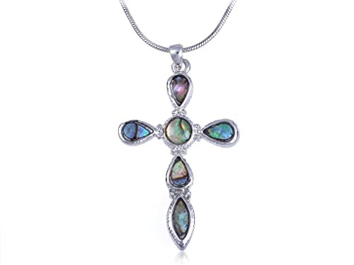 Spicy Key Ocean Sea Shell Bible Holy Cross Abalone Rope Costume Pendant Necklace (Cobra Cross Costume)