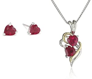 XPY Sterling Silver and 14k Yellow Gold Created Ruby Heart Pendant Necklace and Earrings Set