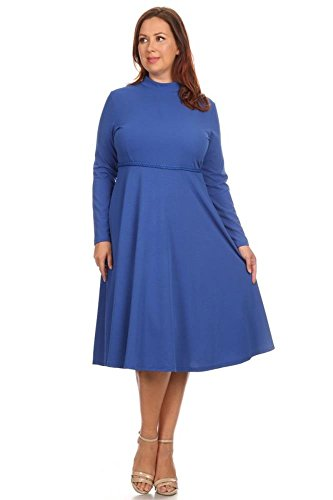 Womens Short Sleeve Knit Fit and Flare Crew Neck Pleated Bottom Plus Size Dress, Long Sleeve Royal Blue, 3X Plus