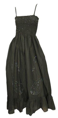 La Leela Halter Long Hand Embroidered Black Backless Tube Dress