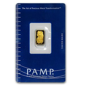 (1 gm) .999 Fine Gold Bar - (With Assay Card) PAMP SUISSE