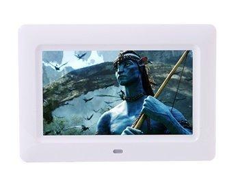 7 Inch Digital Multimedia Digital Photo Frame With Eu Plug Charger (White)