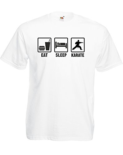 Eat Sleep Karate, Mens Printed T-Shirt - White/Black 2Xl