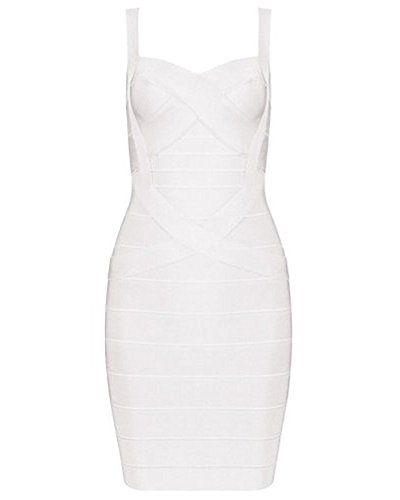 UONBOX Women's Rayon Cute Sleeveless Bodycon Bandage Strap Dress white XS