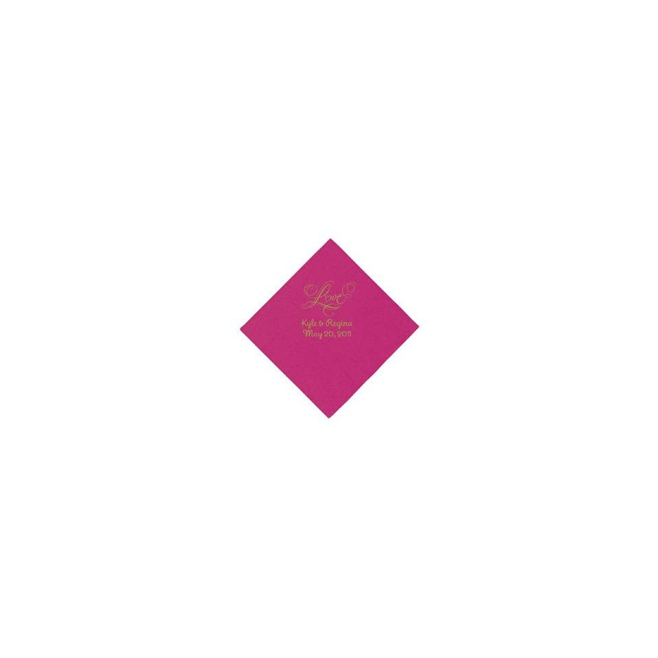 Personalized Gold Love Beverage Napkins   Hot Pink   Tableware & Napkins