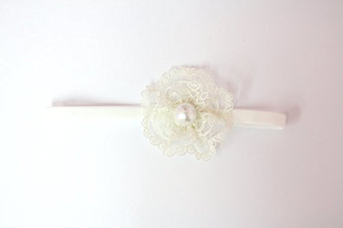 Ivory Lace Flower Headband With Pearl (3-6Months) front-1018444