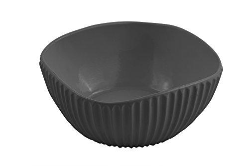 Bon Chef 9912BLK Aluminum Square Ribbed Bowl, Sandstone, Black