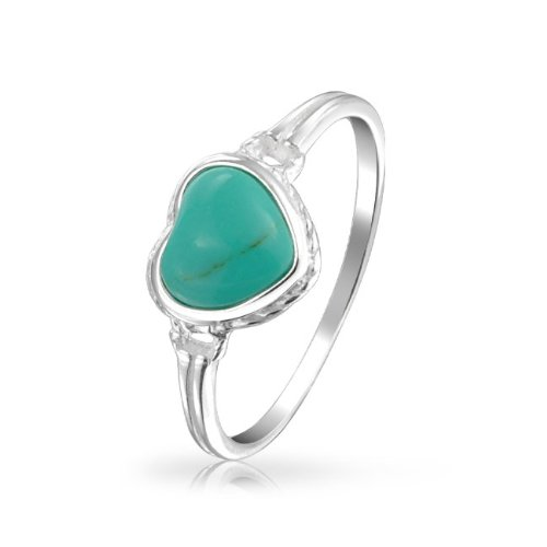 Bling Jewelry Gemstone Turquoise Heart Ring Antiqued Sterling Silver