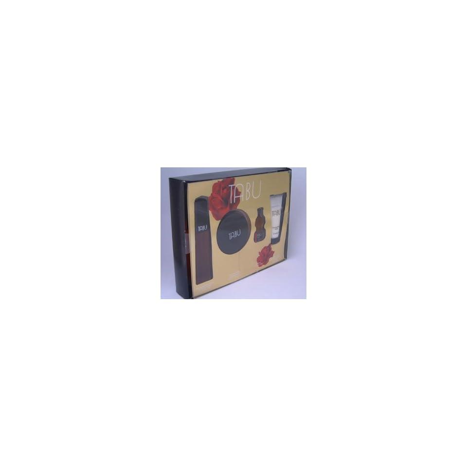e2c634e667 TABU Perfume. 4 PC. GIFT SET ( EAU DE COLOGNE SPRAY 2.5 oz + DUSTING POWDER  1.75 oz + PARFUM 0.5 oz + BODY LOTION 2.0 oz) By Dana Womens
