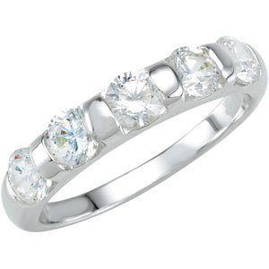 Sterling Silver Stackable Fashion Ring 4mm With Round Clear CZ - Size 7 - JewelryWeb