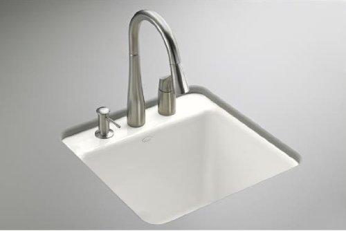 Kohler K-6655-1U-0 Park Falls Undercounter Sink with One-Hole Faucet Drilling, White