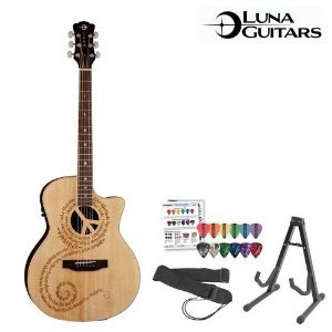 Luna Guitars Jb-Ocl-Pce-Kit-1 Luna Guitars Oracle Peace Acoustic-Electric Guitar With Guitar Stand, Strap And Planet Waves/Godpsmusic Pick Sampler