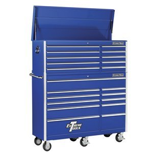 Extreme Tools EX5621CRBL 10-Drawer Top Chest and 11-Drawer Roller Cabinet Combo with Ball Bearing Slides, 56-Inch, Blue High Gloss Powder Coat