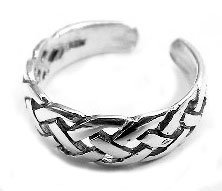 Sterling Silver Celtic Knot Basket Weaved Toe Ring