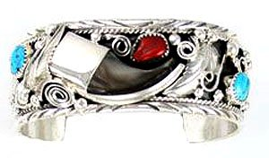 By Navajo Artist:Richard Mike Thomas: Beautiful! Genuine Navajo Sterling-silver Bear Claw Coral & Turquoise Women's Bracelet