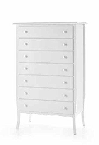 Commode 7tiroirs bois blanc classique et moderne