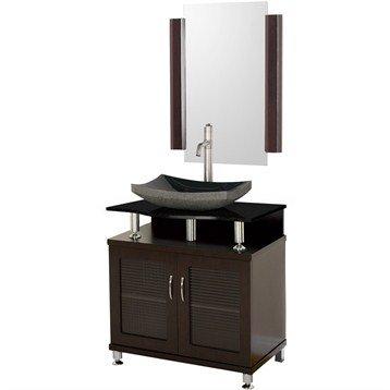 Accara 30 Inch Bathroom Vanity - Doors Only - Espresso w/ Black Granite Countertop and Sink