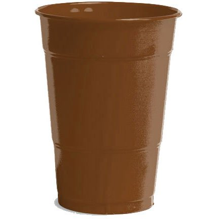 Amscan Big Party Pack 50 Count Plastic Cups, 12-Ounce, Chocolate Brown