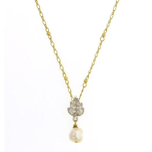 Antiquities Couture Swarovski Crystal Simulated Faux Pearl Necklace