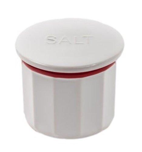 180 Degrees Vintage Farmhouse Style Salt Box / Cellar, Stoneware, 3.5 Inches, White & Red