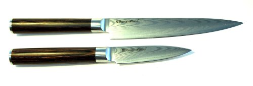 Ramblewood 6 Inch Chef Utility Knife + 3.5 Inch Paring knife 67 Damascus 67 Layers Japanese VG-10 Steel