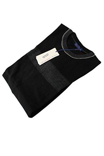 trussardi-mens-crewneck-sweater-size-xl-us-regular-striped-black-wool
