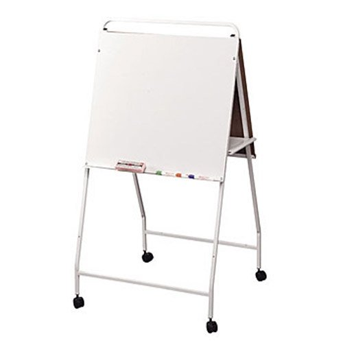 Balt Double-Sided Eco Easel with Wheels, 29-3/4 by 28-3/4 by 58-Inch, White
