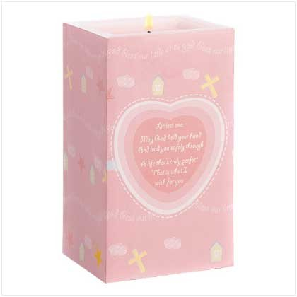 Nursery Blessing Pink Girls Decor Candle Pillar Style front-869032